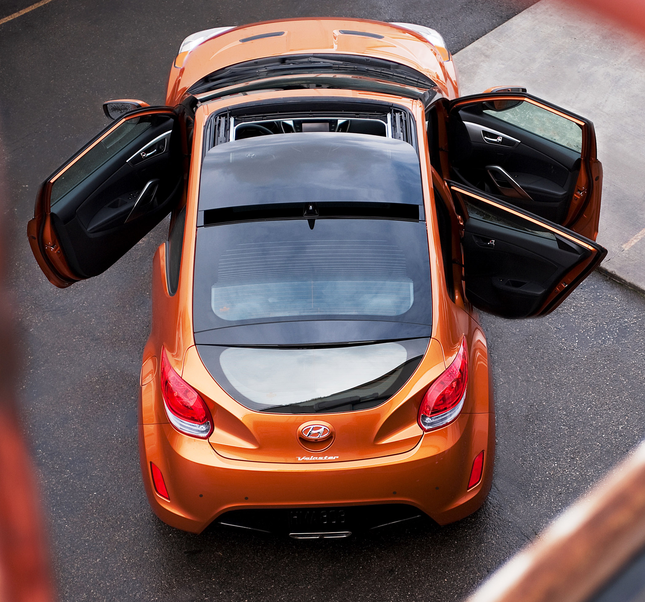 car with 3 doors	  New for 2012: Hyundai Veloster 3-Door Compact Coupe - Down the Road ...