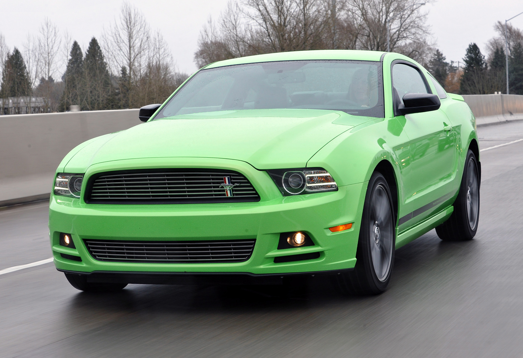 Manufacturer photo: For the 2013 model, the front end of the Mustang offers a more aggressive design with a significantly more prominent grille