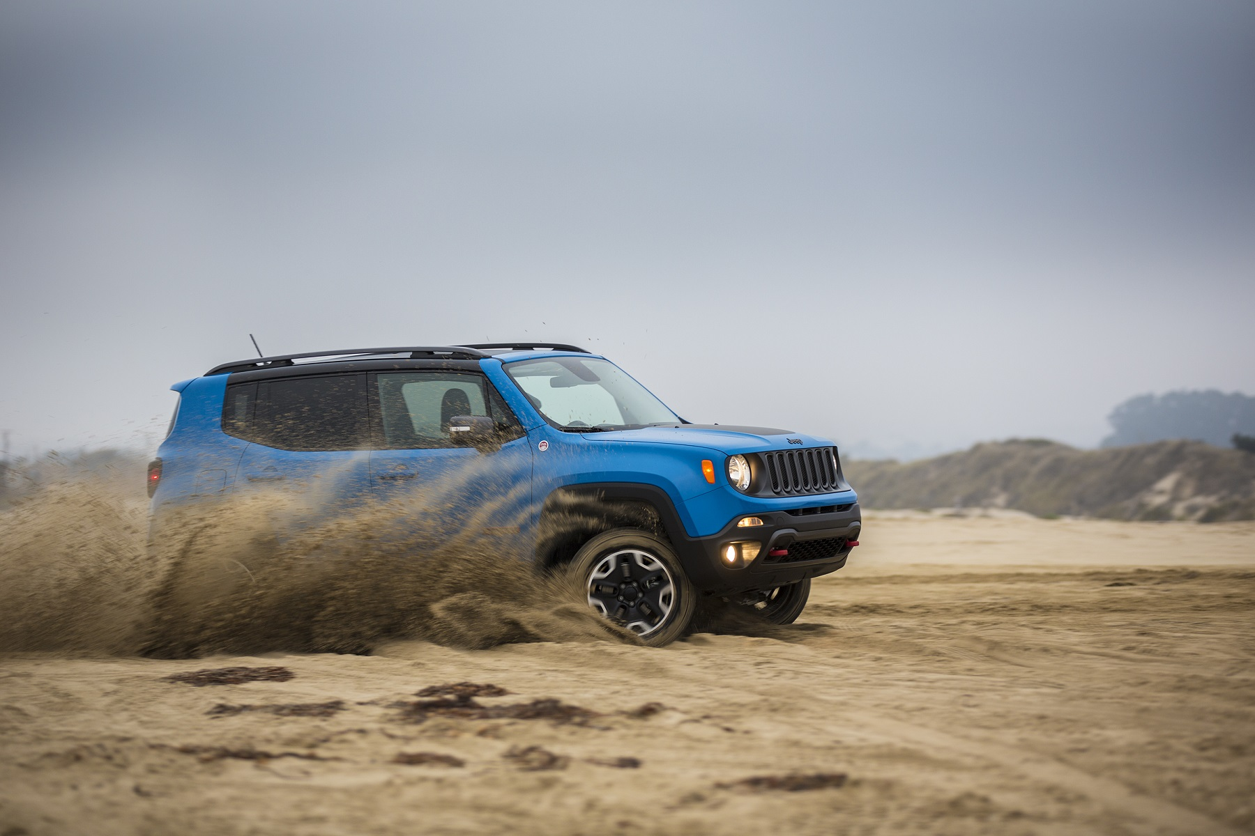 Manufacturer photo: The 2015 Renegade offers the open-air freedom and iconic styling Jeep is known for in an all-new efficient, trail and urban-friendly size -- designed to take the growing global small SUV segment head-on with its beefy proportions and purposeful design elements