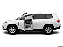 2012 Toyota Highlander, driver's side profile with drivers side door open.