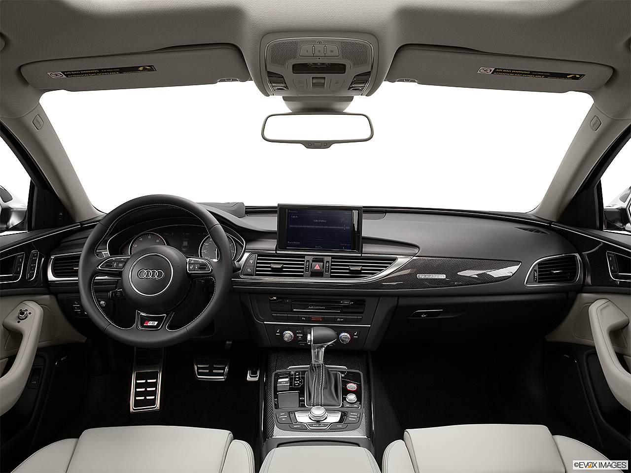 2013 Audi S6 4.0TFSI Seven-speed S Tronic transmission, centered wide dash shot