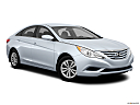 2013 Hyundai Sonata GLS, front passenger 3/4 w/ wheels turned.