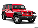 2016 Jeep Wrangler Unlimited Sport, front passenger 3/4 w/ wheels turned.
