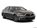 2018 Acura RLX Sport Hybrid SH-AWD, front passenger 3/4 w/ wheels turned.