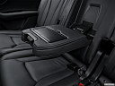 2018 Audi Q7 Premium Plus 3.0 TFSI, rear center console with closed lid from driver's side looking down.