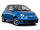 2018 Fiat 500 Lounge, front passenger 3/4 w/ wheels turned.