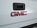 2018 GMC Sierra 1500 SLE, rear manufacture badge/emblem
