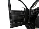 2018 RAM 1500 Express, inside of driver's side open door, window open.