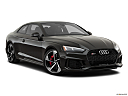 2019 Audi RS 5 2.9 TFSI, front passenger 3/4 w/ wheels turned.