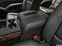 2019 Chevrolet Tahoe LT, front center console with closed lid, from driver's side looking down