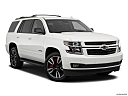 2019 Chevrolet Tahoe Premier, front passenger 3/4 w/ wheels turned.