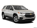 2019 Chevrolet Traverse LS, front passenger 3/4 w/ wheels turned.