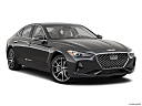 2019 Genesis G70 3.3T Design Edition, front passenger 3/4 w/ wheels turned.