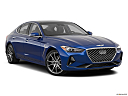 2019 Genesis G70 2.0T Dynamic, front passenger 3/4 w/ wheels turned.