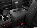 2019 GMC Yukon SLT, front center console with closed lid, from driver's side looking down