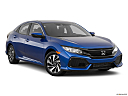 2019 Honda Civic Hatchback LX, front passenger 3/4 w/ wheels turned.
