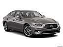 2019 Infiniti Q50 Luxe, front passenger 3/4 w/ wheels turned.