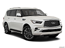 2019 Infiniti QX80 Luxe 4WD, front passenger 3/4 w/ wheels turned.