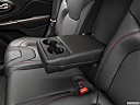 2019 Jeep Cherokee Trailhawk Elite, rear center console with closed lid from driver's side looking down.