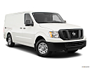 2019 Nissan NV2500 HD Cargo SV V6, front passenger 3/4 w/ wheels turned.
