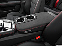 2019 Porsche Panamera GTS, front center console with closed lid, from driver's side looking down