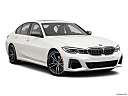 2020 BMW 3-series M340i, front passenger 3/4 w/ wheels turned.