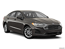 2020 Ford Fusion Hybrid SE, front passenger 3/4 w/ wheels turned.