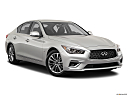 2020 Infiniti Q50 3.0t LUXE, front passenger 3/4 w/ wheels turned.