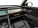 2020 Jaguar XF 30t Prestige, glove box open.